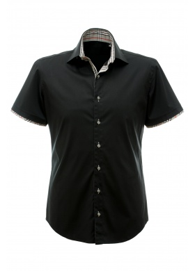 Luigi Camicie Marco short - Shirt - Black, grey